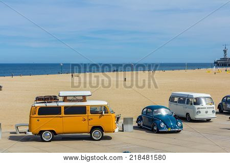 The Hague the Netherlands - 21 May 2017: VW classic beetle vehicle at Scheveningen beach car show