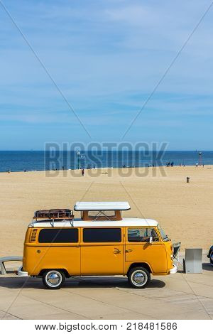 The Hague the Netherlands - 21 May 2017: classic VW kombi at Scheveningen beach