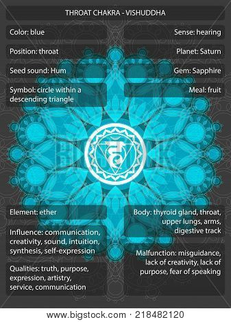 Chakras symbols with meanings infographic vector illustration
