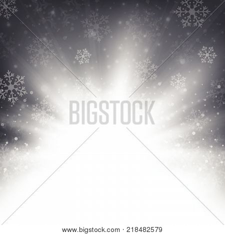 Christmas Snowflakes And Snows With Sunburst In Blue Background