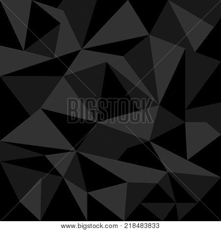 Abstract Dark Polygonal Triangle Background. Vector Polygon which consist of triangles. Geometric background in Origami style with gradient.