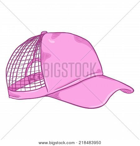 Vector Cartoon Side View Pink Net Cap. Beach Headwear