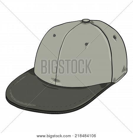 Vector Cartoon Retro Gray Baseball Cap with Flat Peak. Hip-hop Headwear.
