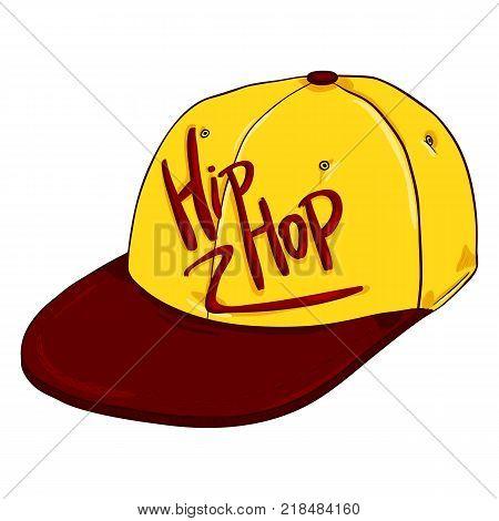 Vector Cartoon Retro Yellow Baseball Cap with Flat Red Peak. Hip-hop Headwear.