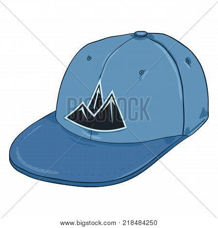 Vector Cartoon Blue Cap with Mountain Logo