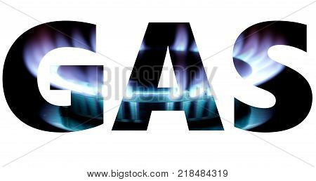 Gas word with burner flame background isolated on white poster