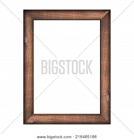 Wooden Frame With Isolated White Background. Front View Of Classic Wooden Frame. For A4 Image Or Tex