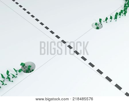 Dollar symbol cartoon characters crossing border as contraband 3d illustration horizontal over white