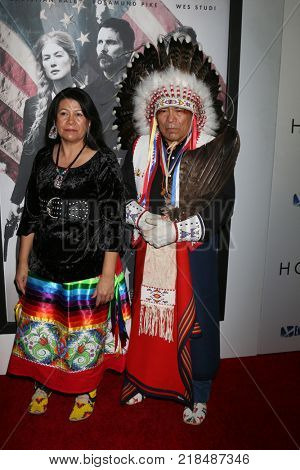 LOS ANGELES - DEC 14:  Lynette Two Bulls, Chief Phillip Whiteman Jr at the