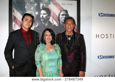 LOS ANGELES - DEC 14:  Kholan Studi, Maura Dhu Studi, Wes Studi at the
