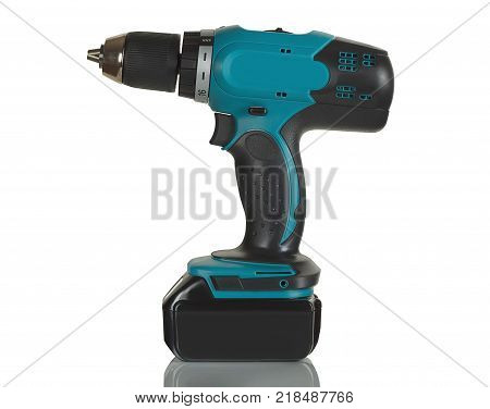 battery drill screwdriver on white background in Studio