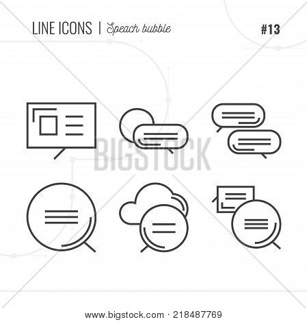 Line Icon of Speach bubbles Isolated Object. Line icons set.