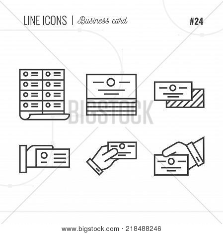 Line Icon of Business card message address Isolated Object. Line icons set.