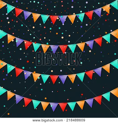 Bunting Flags Garland. Fancy Celebration Card. Bright Holiday Decorations And Confetti. Bunting Flag