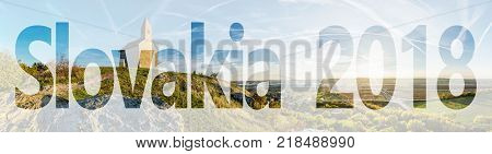 Romanesque church Saint Michael Drazovce village and industrial park Nitra in sunset Slovak republic. PF 2018. Autumn panoramic scene. Landscape in middle Europe.