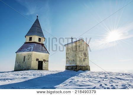 Calvary in Nitra Slovak republic. Winter snowy scenery. Religious architecture.