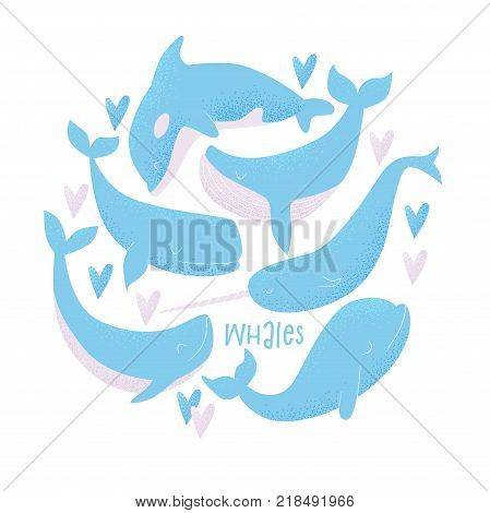 Vector Seamless Pattern With Blue Whale