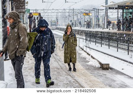 The Hague the Netherlands - December 11 2017: snow covered train station in The Hague