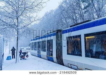 The Hague the Netherlands - December 11 2017: snow covered tram at Loosduinen The Hague