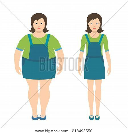 Fat and slim girls vector illustration in flat style. Children obesity concept.
