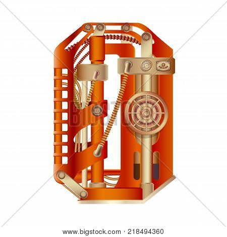 Arabic numeral 0, made in the form of a mechanism with moving and stationary parts on a steam, hydraulic or pneumatic draft. Isolated freely editable objects on a white background.