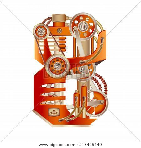 Arabic numeral 8, made in the form of a mechanism with moving and stationary parts on a steam, hydraulic or pneumatic draft. Isolated freely editable objects on a white background.