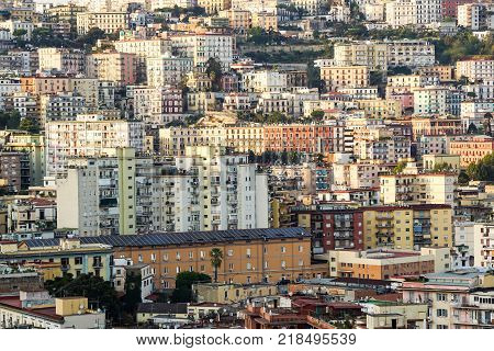 Aerial view of traditional red house roofs at the Naples Town Square, Napoli Italy . urban agglomeration .