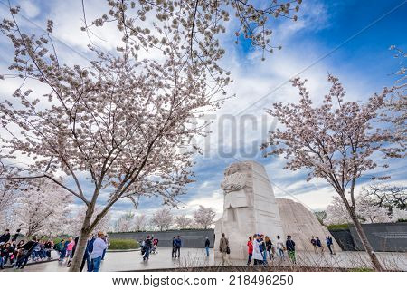 WASHINGTON - APRIL 9, 2015: The memorial to the civil rights leader Martin Luther King, Jr. during the spring season in West Potomac Park.