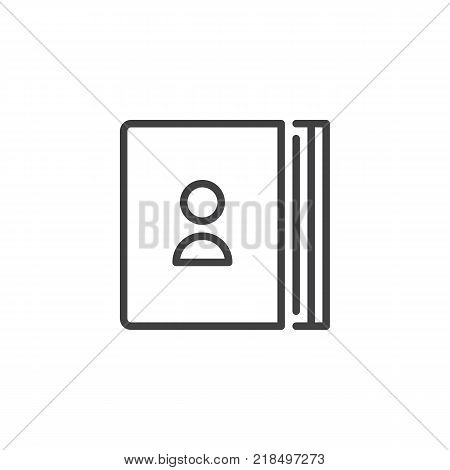 Address book line icon, outline vector sign, linear style pictogram isolated on white. Contacts symbol, logo illustration. Editable stroke