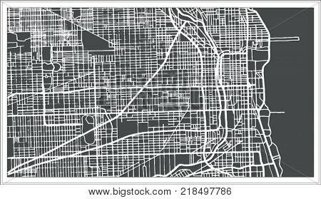 Chicago Illinois USA Map in Retro Style. Outline Map.