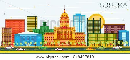 Topeka Kansas USA Skyline with Color Buildings and Blue Sky. Business Travel and Tourism Concept with Modern Architecture.