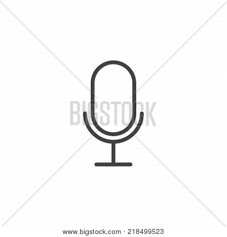 Microphone line icon, outline vector sign, linear style pictogram isolated on white. Mic symbol, logo illustration. Editable stroke