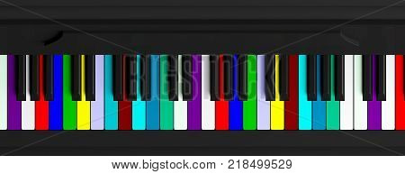 Colorful Piano Keyboard, Top View, Banner. 3D Illustration