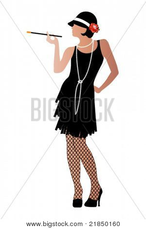 Flapper with cigarette