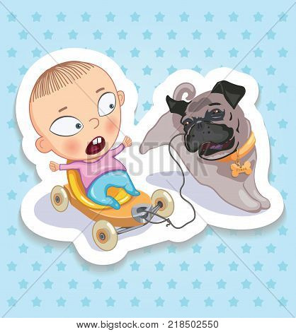Baby ang pup. Happy childhood of kids. Funny stickers