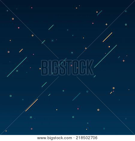 Concept of starry sky in motion design style. Texture of the universe with falling comets. Flat vector illustration. Geometric shapes background. Background on your web banner design