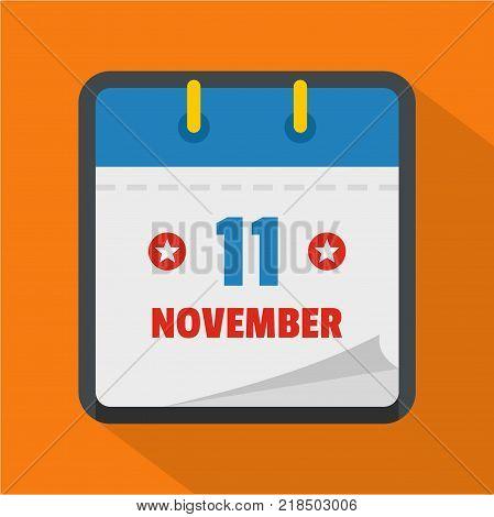 Calendar eleventh november icon. Flat illustration of calendar eleventh november vector icon for web