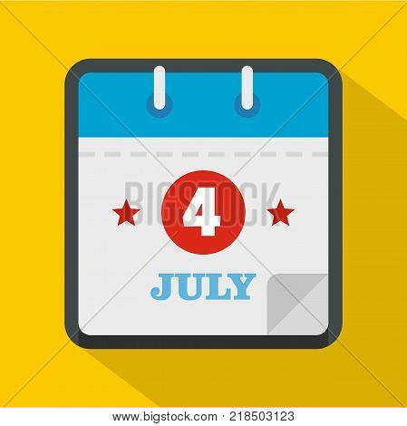 Calendar eleventh november icon. Flat illustration of calendar fourth july vector icon for web