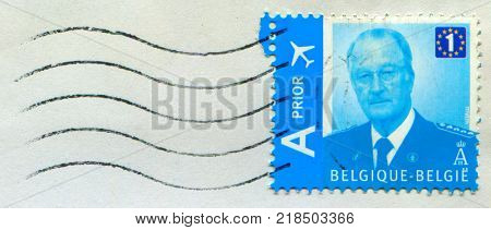 GOMEL, BELARUS, 14 DECEMBER 2017, Stamp printed in Belgium shows image of the Albert II (born 6 June 1934) reigned as the sixth King of the Belgians from 1993 until his abdication in 2013, circa 2017.