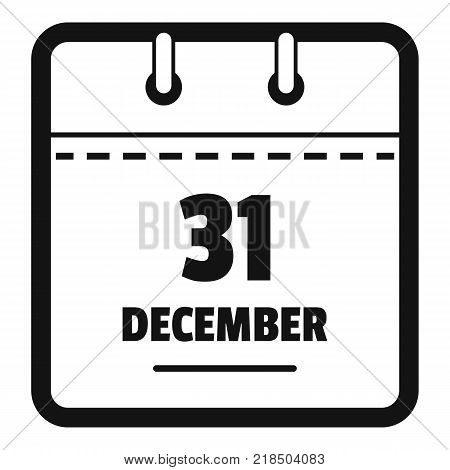 Calendar thirty first december icon. Simple illustration of calendar thirty first december vector icon for web