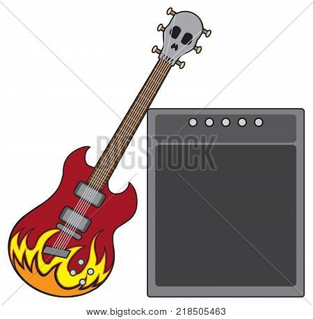 An electric guitar decorated with flames and a skull shaped head stock is leaning against an amplifier