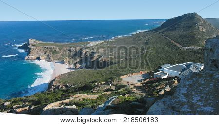 CAPE POINT, IN THE CAPE OF GOOD HOPE NATURE RESERVE, ON THE SOUTHERN TIP OF THE CAPE PENINSULA, SURROUNDED BY THE TURQUOISE WATERS, OF THE ATLANTIC OCEAN