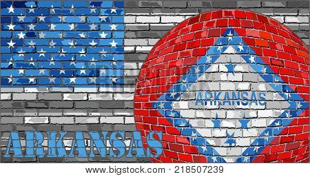 Arkansas flag on the grey USA flag background - Illustration,  Ball with Arkansas flag