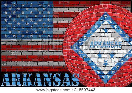 Arkansas flag on the USA flag background - Illustration,  Ball with Arkansas flag