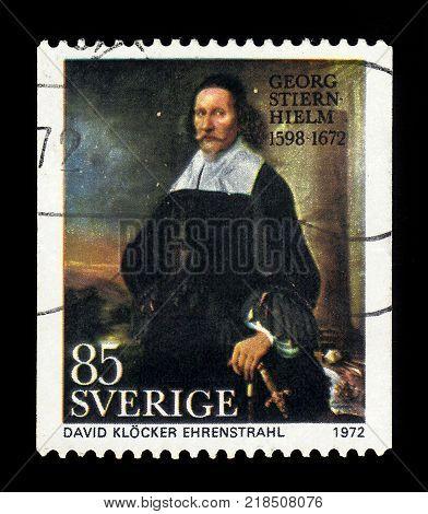 SWEDEN - CIRCA 1972: stamp printed in Sweden, shows painting by David Klöcker Ehrenstrahl, portrait of Georg Stiernhielm, swedish civil servant, linguist and poet, series, circa 1972