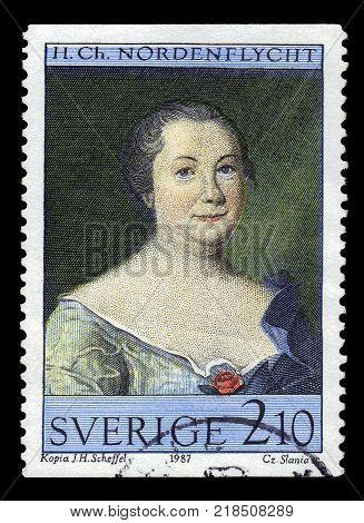 SWEDEN - CIRCA 1987: stamp printed in Sweden, shows portrait of Hedvig Charlotta Nordenflycht, swedish poet, feminist and salon hostess, series art at Gripsholm Castle, circa 1987