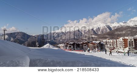 April 26,2017, Rosa Khutor ,Sochi ,Russia - Landscape with the Olympic village Rosa Khutor, the place of the Olympic Winter games 2014 ,Krasnaya Polyana ,Rosa Khutor, Sochi ,Russia.