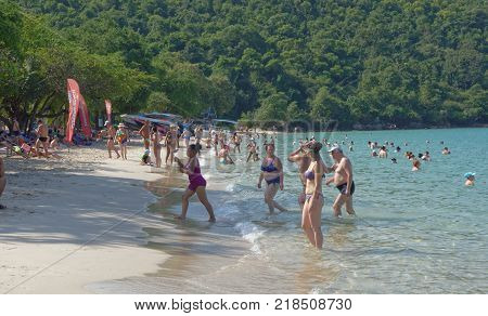PattayaThailand- November 22;2017: Sai Kaew Beach Sattahip- Military Beach.People sunbathe and swim