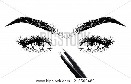 Eyes With Eyebrow And Long Eyelashes And Tweezers To Build. Logo For Eyebrow Mater, Eyelash Extensio