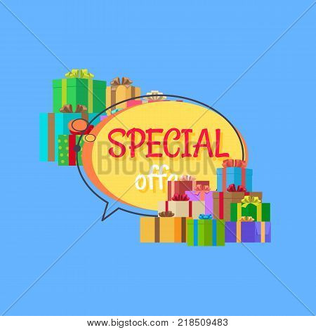 Best proposal discounts. Special offer free gifts poster with decorated boxes in color holiday wrapping paper vector illustration isolated on blue.
